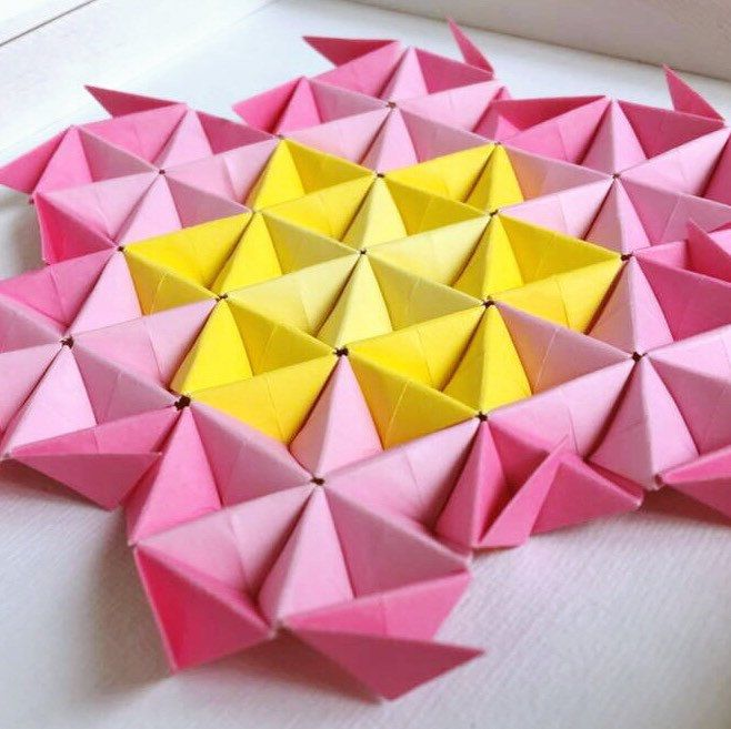 Pink Flower Modular Origami Wall Art, Origami Wall Art, 3D Origami ...