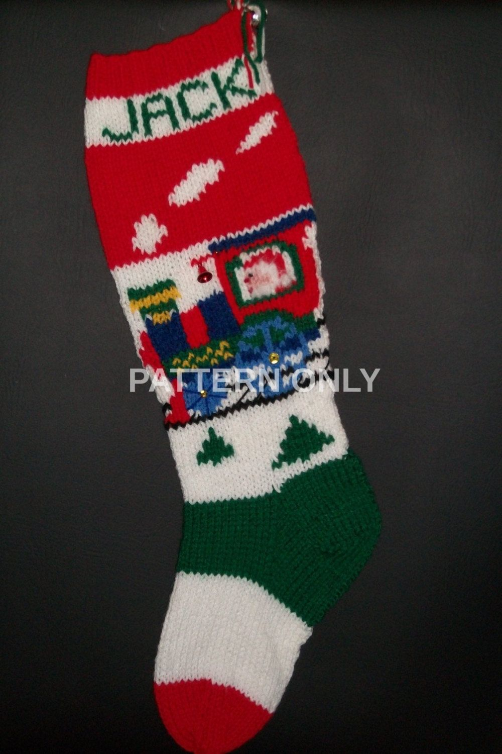 PDF Pattern Only Hand Knitted Santa on a Train Christmas Stocking by ...