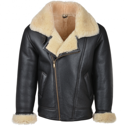Mens Ashwood Luan Brn/Cream - Sheepskin Flying Jacket | Mens ...