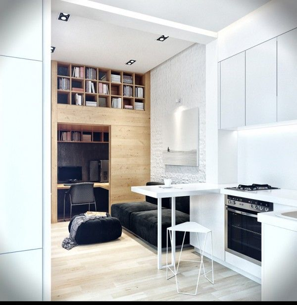 22 Beautiful Kitchen Design For Loft Apartment: Small Apartment With Snug Storage