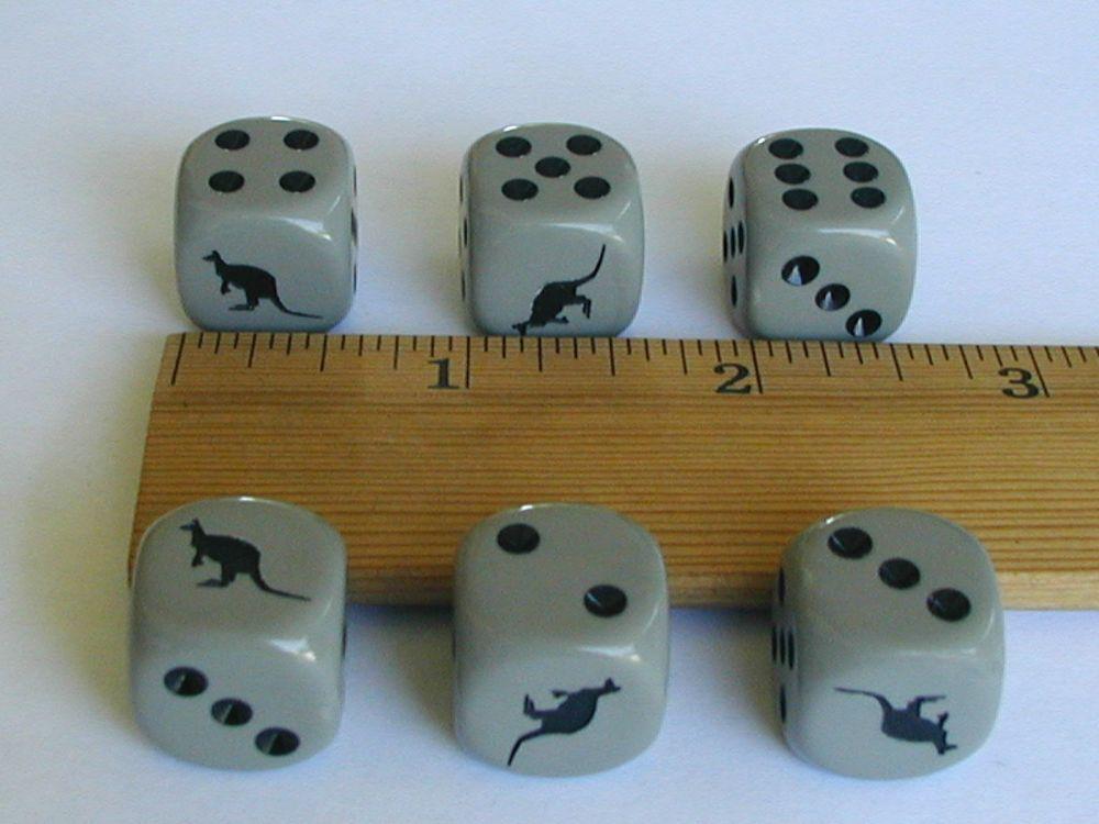 DICE - *SIX* KANGAROOS ON 16mm CHX OPAQUE GREY w/BLACK! HOPPING BACK IN STOCK! #chessexcustomdice