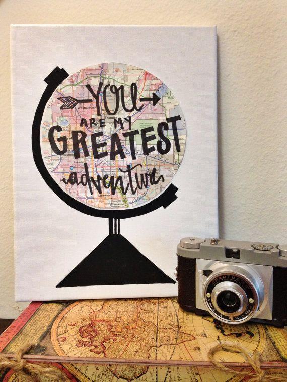 Du bist mein größtes Abenteuer Zitat Leinwand Kunst