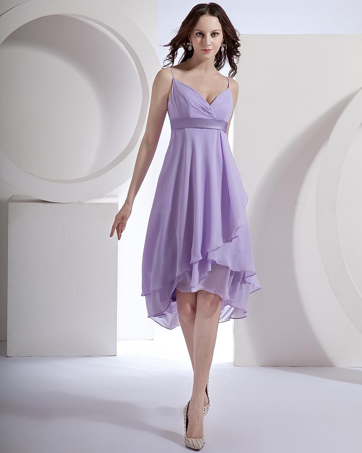 Chiffon Short Sleeve Tea Length Bridesmaid Dress A-line/Princess ...