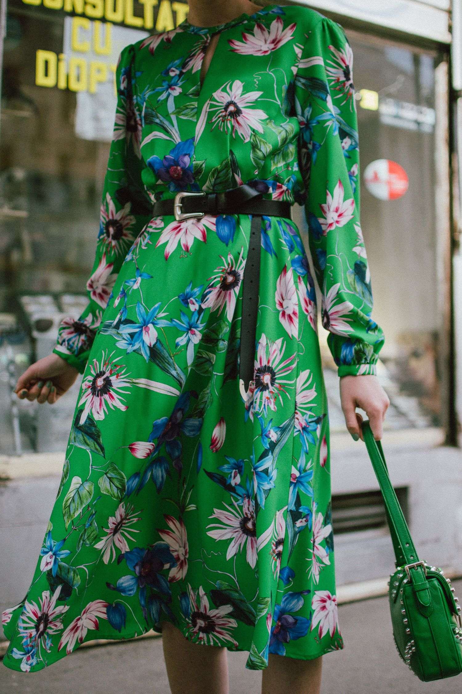 37adc5b96fe2 Green midi floral dress, gucci ace heart embroidered sneakers, prada green  leather shoulder bag, mango big straw hat, andreea birsan, couturezilla, ...