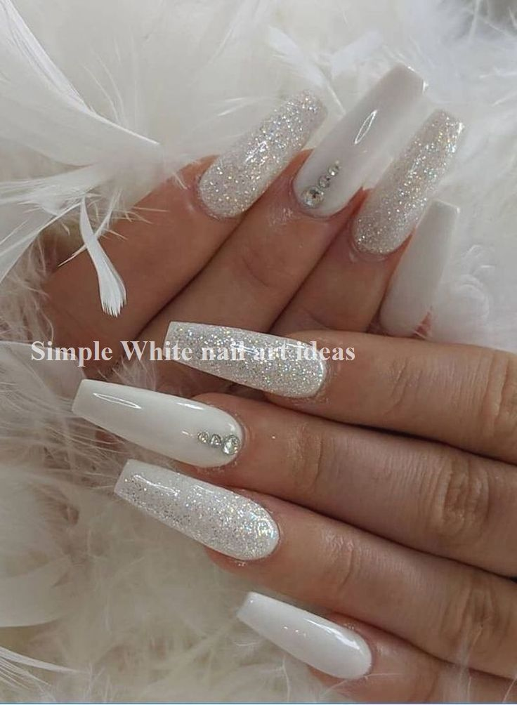 30 Simple Trending White Nail Design Ideas 1 In 2020 With Images White Acrylic Nails Rhinestone Nails Long Acrylic Nails