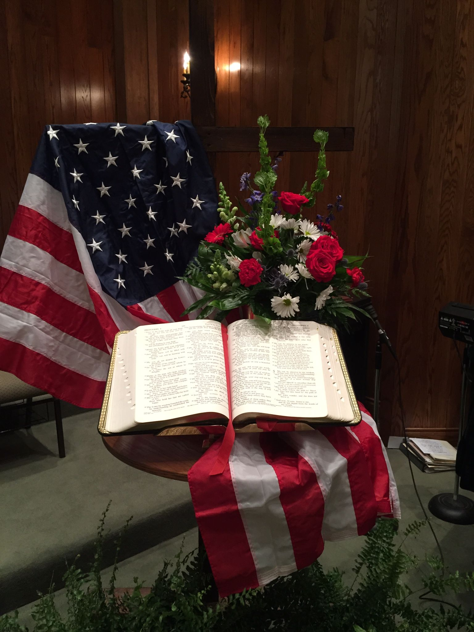 Powerfully simple patriotic display with a bible flag and for Decorated bible
