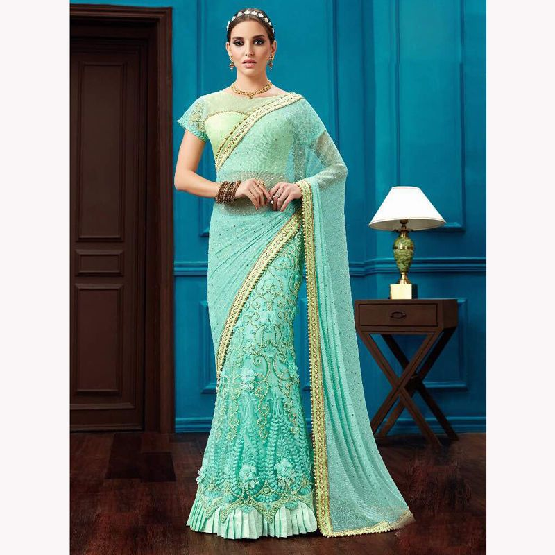 Indian Designer Wedding Saree Traditional Sari Blouse For WQomens ...