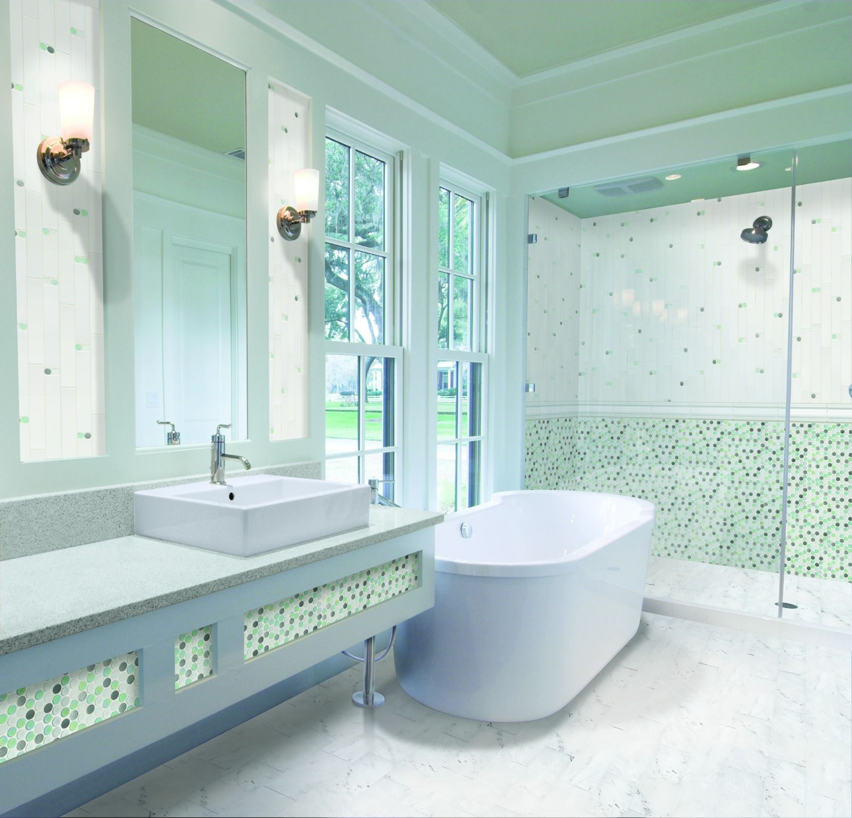 The translucent beauty and utility of glass tile is exemplified by ...