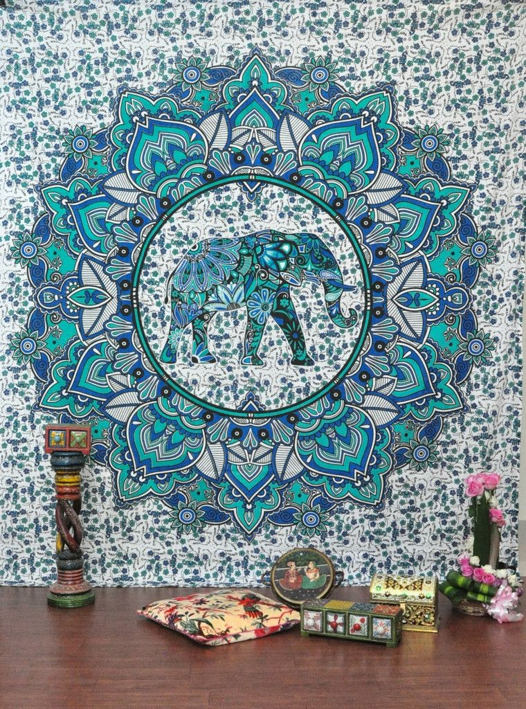 Indian Queen Wall Hanging Elephant Mandala Tapestry Beach Picnic Throw Bedspread