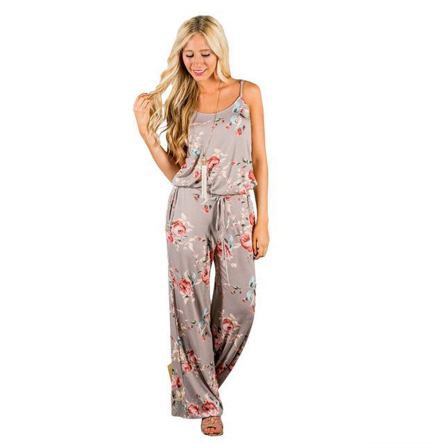 Spaghetti Strap Women Summer Long Pants Floral Print