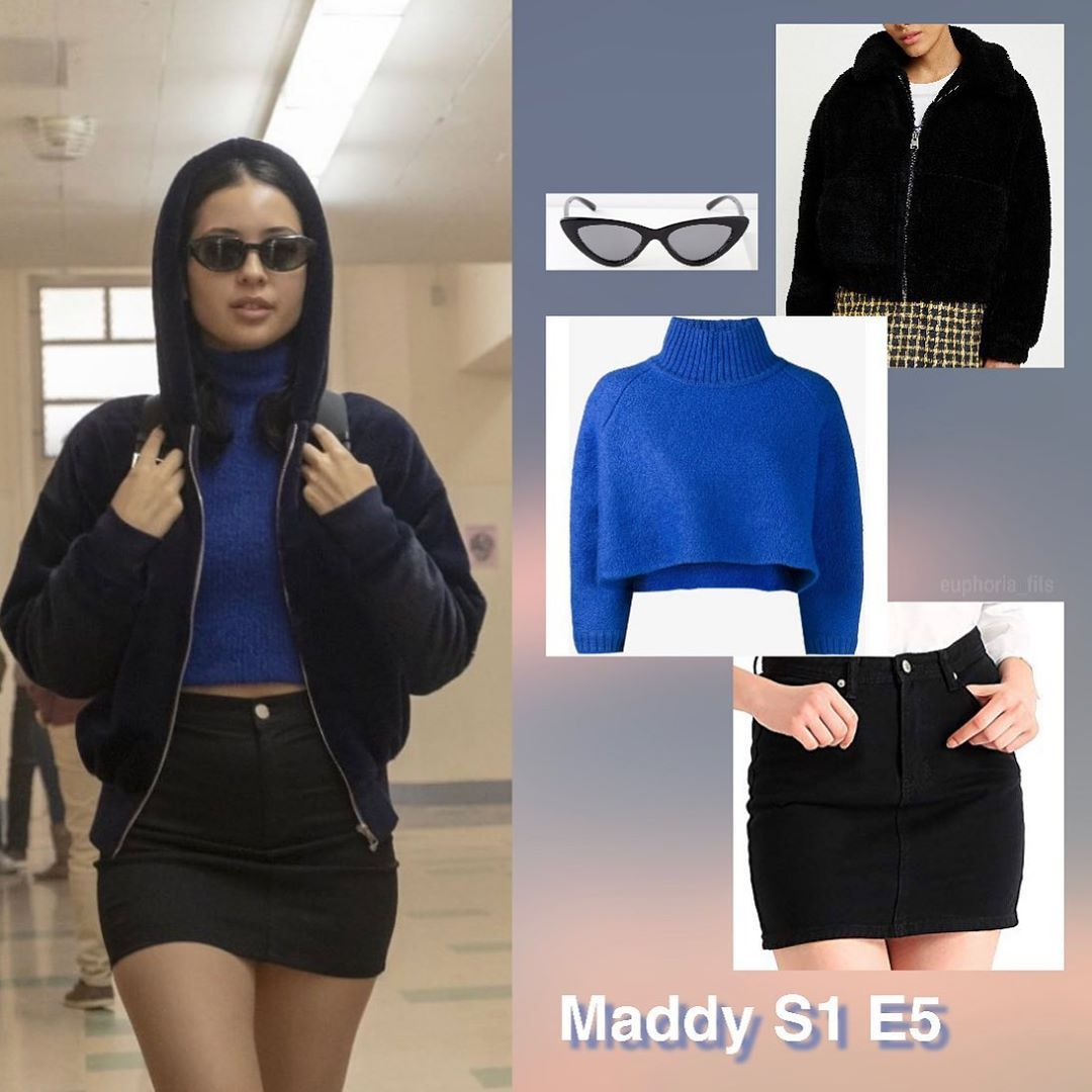 """@euphoria_fits on Instagram: """"maddy fit from ep 5 teddy black crop jacket $60 (sold out) urban outfitters similar blue crop jumper $870 (sold out) vika gazinskaya small…"""" #maddyeuphoriaoutfits"""