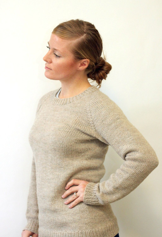 8fd386e3badf91 Ladies Classic Raglan Pullover Top Down Sweater Knitting Pattern PDF.   5.50