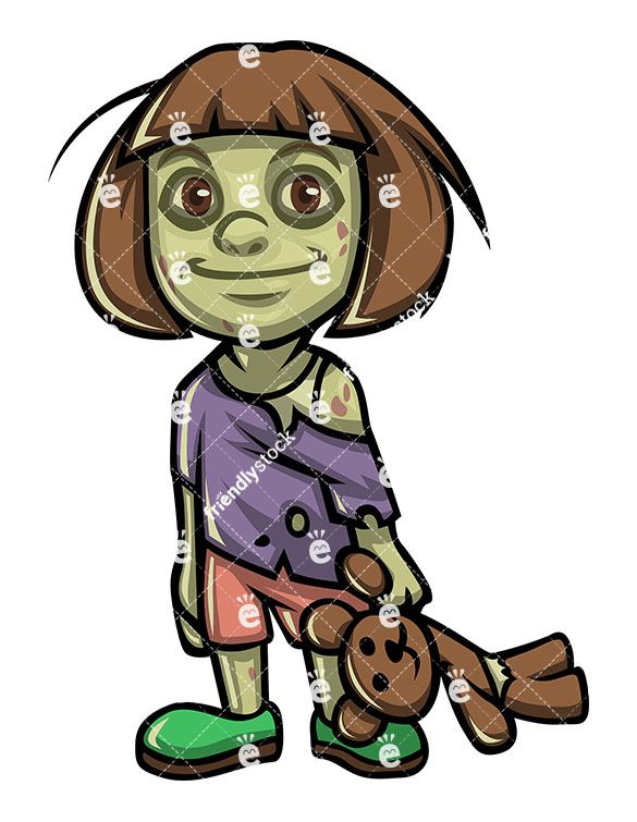 Cute Little Girl Zombie With Teddy Bear Zombie Clipart Zombie