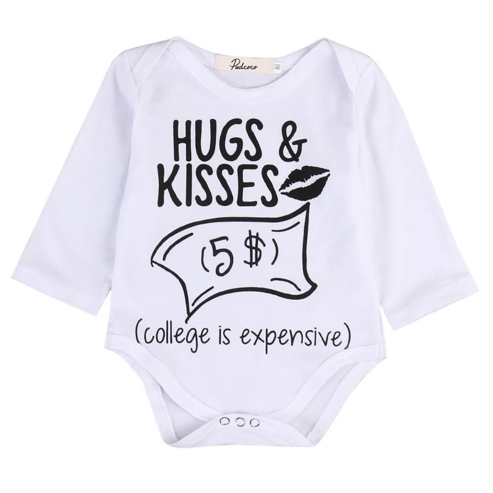 9e8a4912d Casual Newborn Baby Baby Boy Girl Clothes Huge Kisses $5 Long Sleeve Cotton  Bodysuit One
