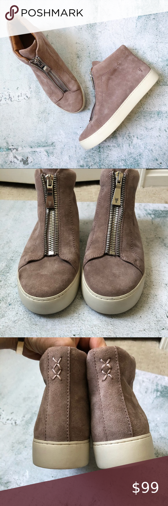 FRYE • Lena Suede High Top Zipper Sneaker Excellent pre-owned condition. Dusty…