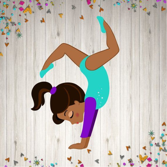 Gymnastic Centerpiece Kit Party Decoration African American Etsy Clip Art Borders Centerpiece Kits Kids Cartoon Characters