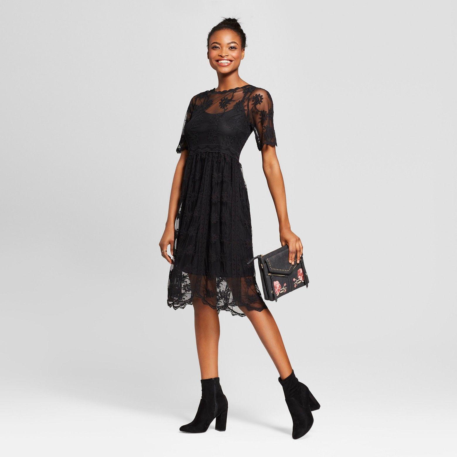 Women S Embroidered Mesh Midi Dress Xhilaration Black L Target Dresses Midi Dress Lace Midi Dress [ 1560 x 1560 Pixel ]