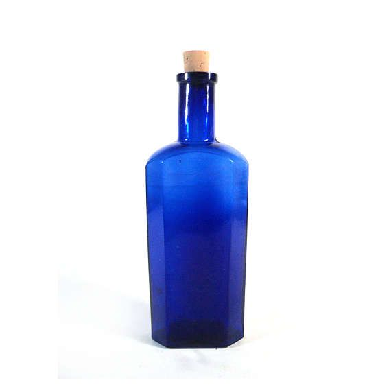 French Cobalt Blue Vial Apothecary Jar Chemist Bottle