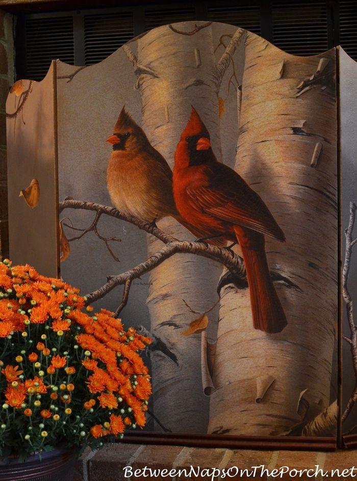 An Autumn Winter Firescreen With Beautiful Cardinal Birds In Birch Tree
