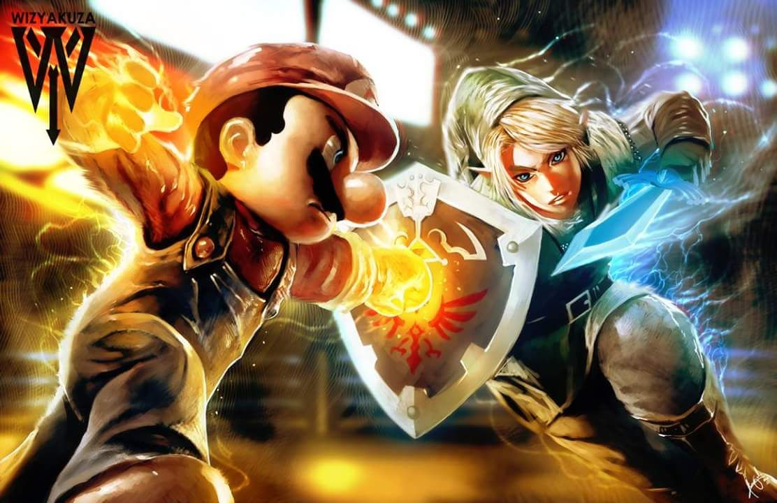 Link Vs Mario Brawl Mario vs Link by Ceasa...