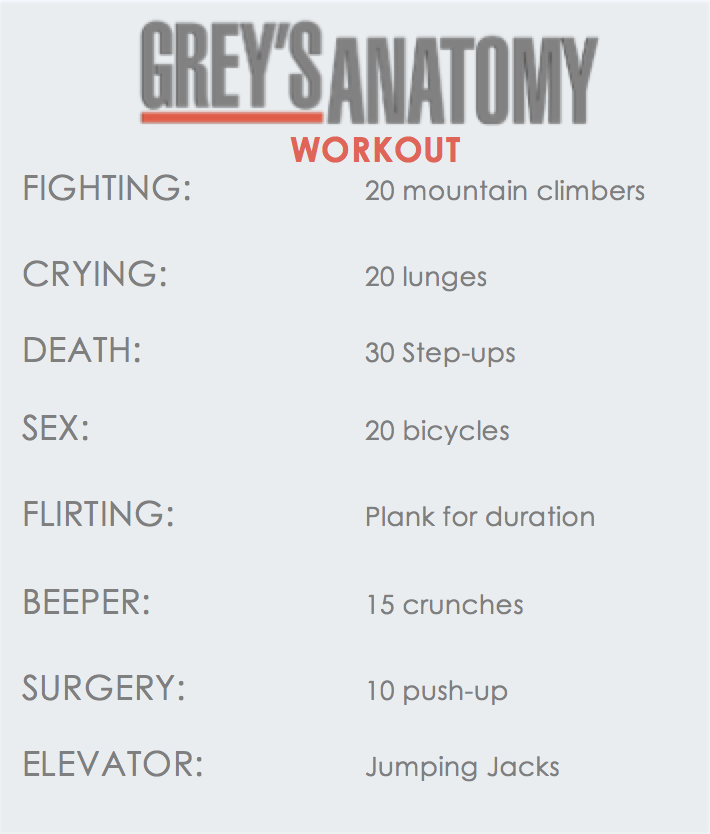 Grey's Anatomy Workout! I made one that works for season 1 and 2 and 3.