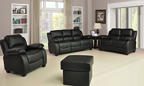 Valerie Black Leather Sofa Suite 3 2 1 Stool Brand New 12 Months Warranty Free Delivery To England And Wales Sofas