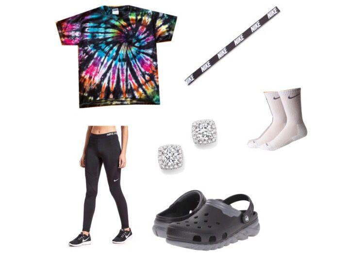 ff64277ba Outfits!!! Crocs Nike tie dye diamond leggings headband socks ...