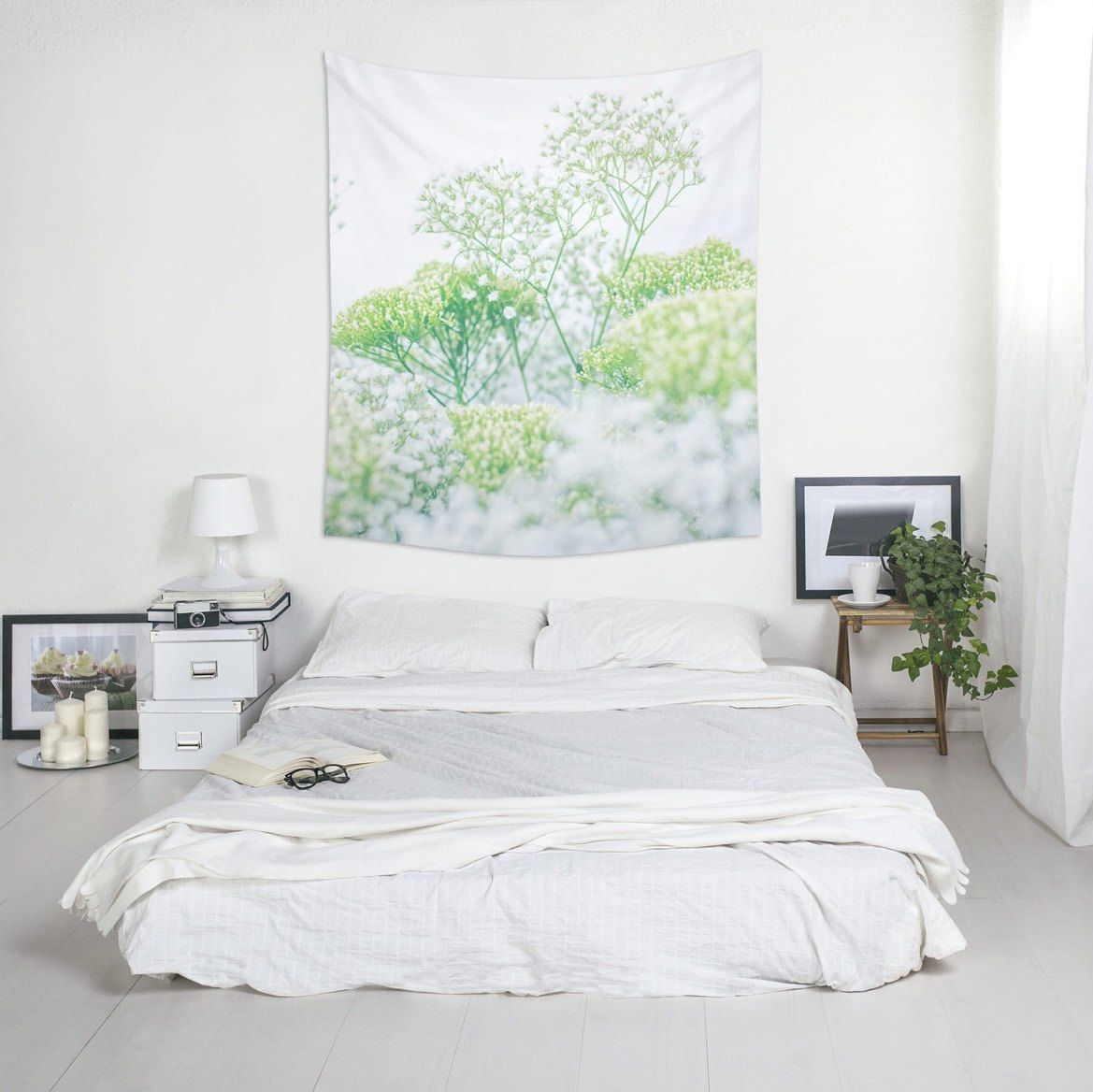 Wall Paint Mockup - Floral wall tapestry home decorating wall art polyester fabric green and white nature decor