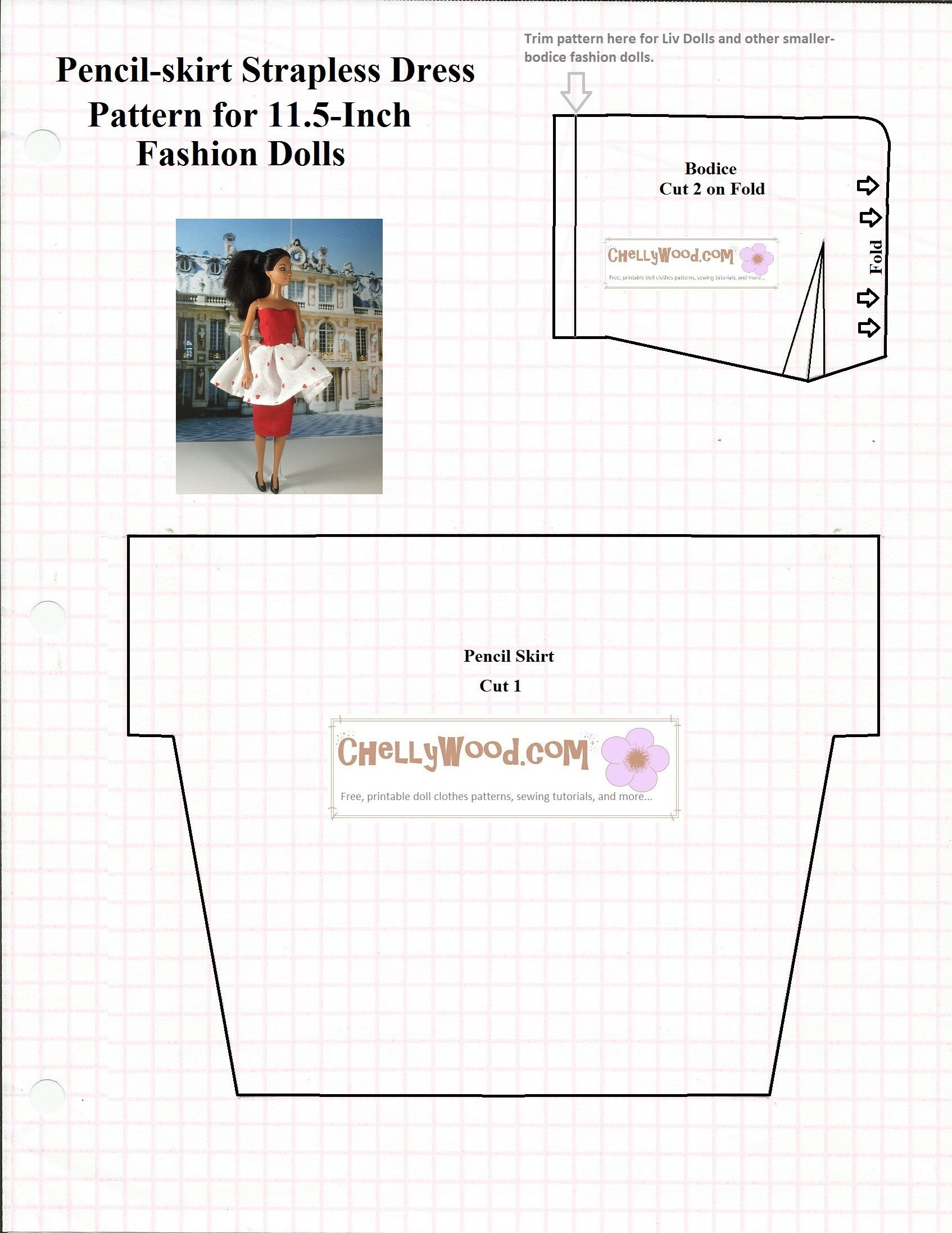Free printable #sewing pattern for #romantic #dolls dress ...