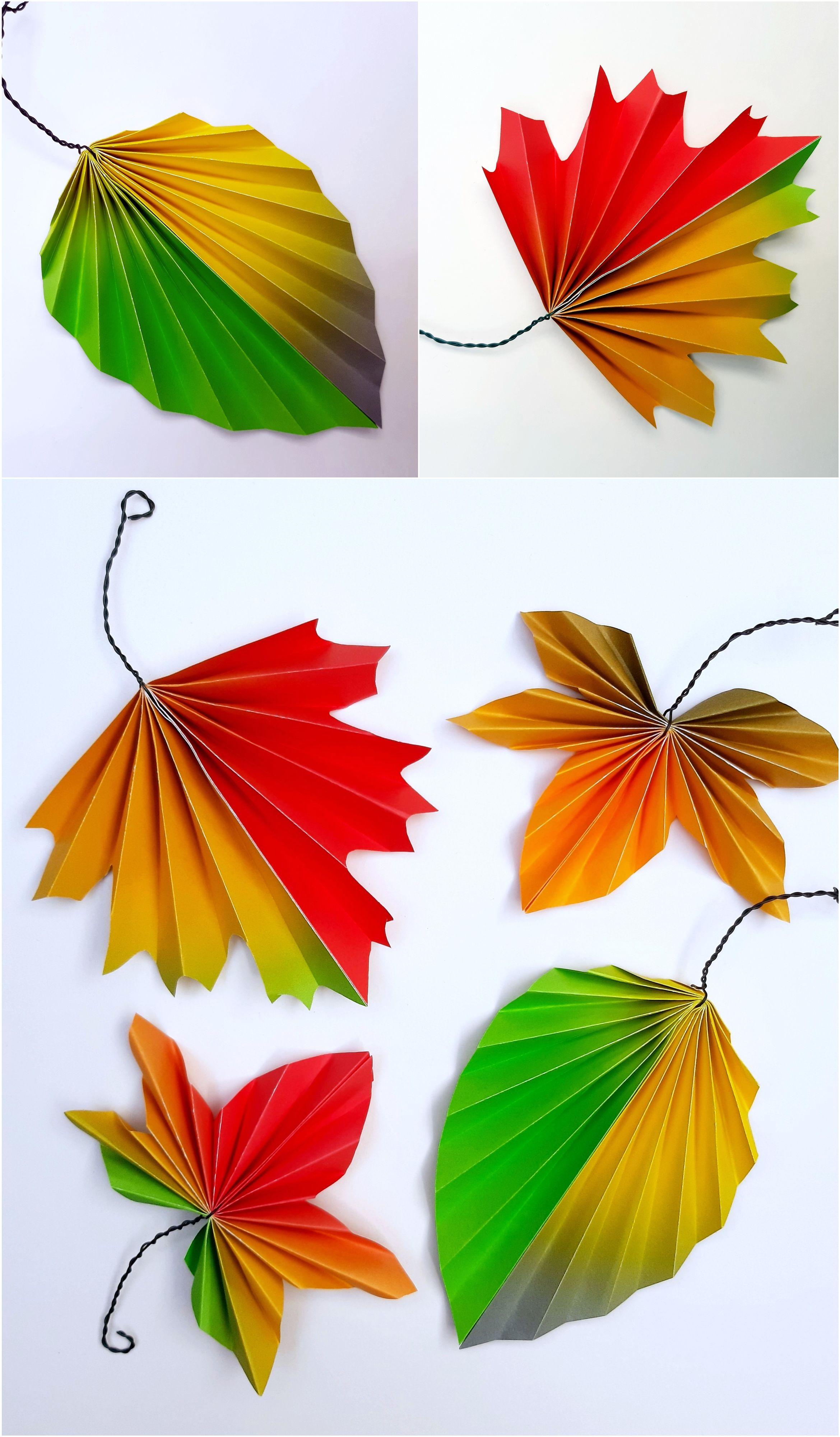 Aus dem Blog der Buntpapierwelt.de Gerne zeigen wir Euch wie man aus Buntpapier Herbstblätter faltet.  Mit Vorlagebogen zum Ausdrucken.