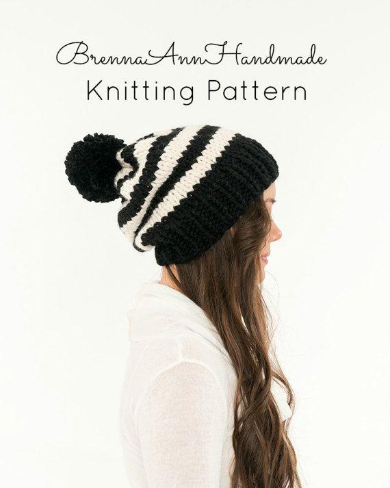 Sale KNITTING PATTERN Striped Slouchy Knit Pom Pom Hat | Knitting ...