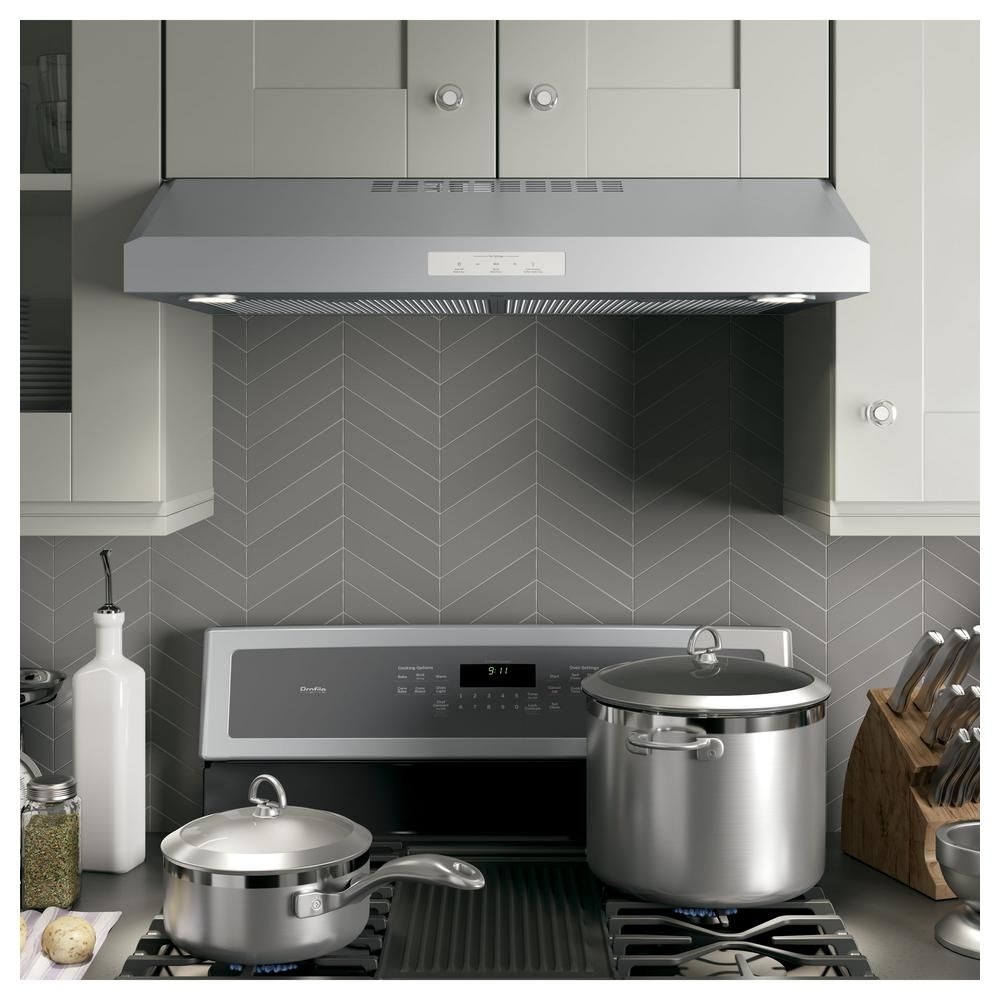 Ge Profile 30 In Convertible Under The Cabinet Range Hood With Led Light In Stainless Steel Pvx7300sjss The Home Depot In 2020 Stainless Range Hood Range Hood Under Cabinet