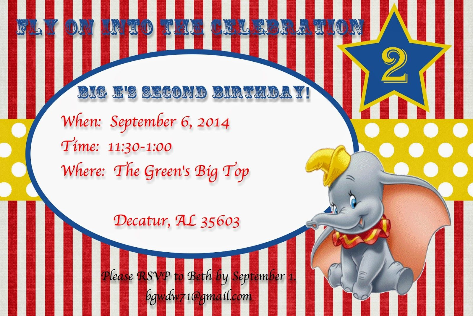 A Disney Mom's Thoughts: Dumbo Birthday Invitation