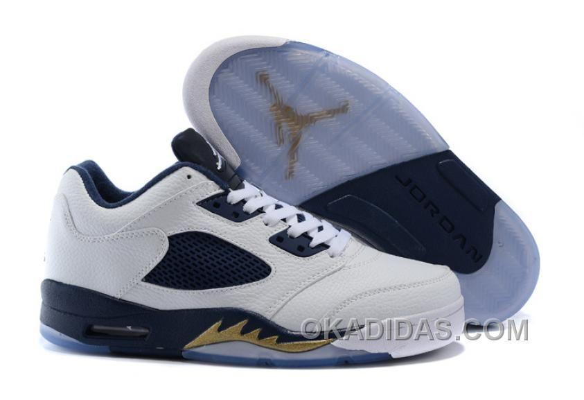 2017 Air Jordan 5 Low White Metallic Gold Shoes