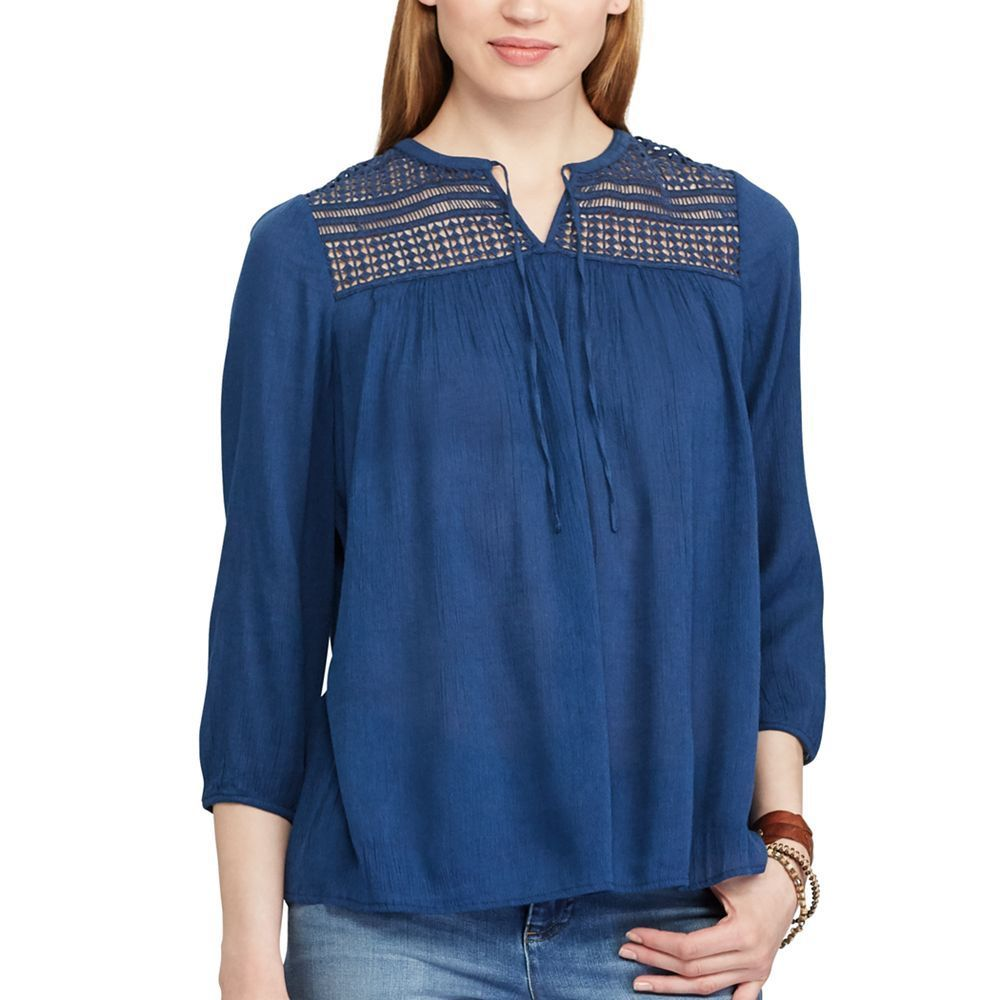 ee8750b316dd2e A lace yoke and a crinkled cotton blend give this women s Chaps peasant top  a free-spirited look.