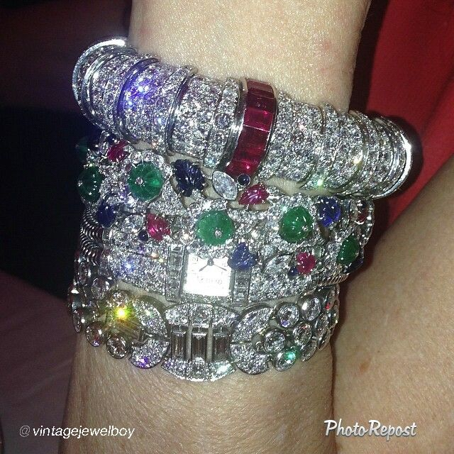 """By @vintagejewelboy """"Who said that nobody does wear jewelry anymore!"""" via @PhotoRepost_app"""