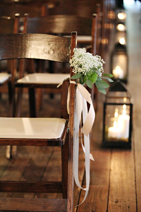 Babys breath ceremony chair decoration pew flowers for Aisle decoration