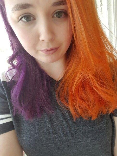 orange and purple, bright hair, rainbow hair, split dyed hair. Aveda colors Aveda Salon #avedasalon orange and purple, bright hair, rainbow hair, split dyed hair. Aveda colors Aveda Salon