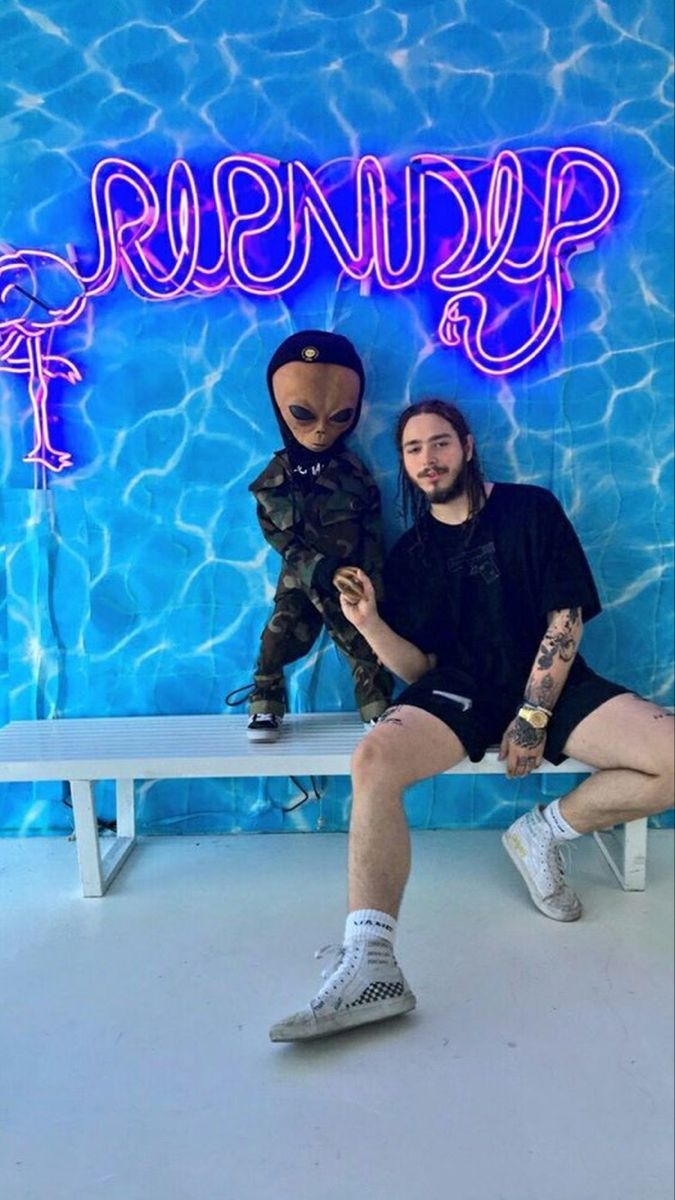 Post Malone, posty, ripndip, blue, rapper, vibes neon sign