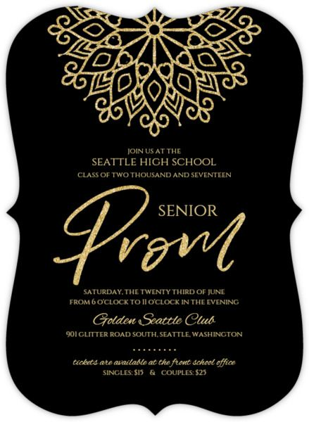 Elegant Faux Gold Glitter Senior Prom Invitation Prom - prom ticket template