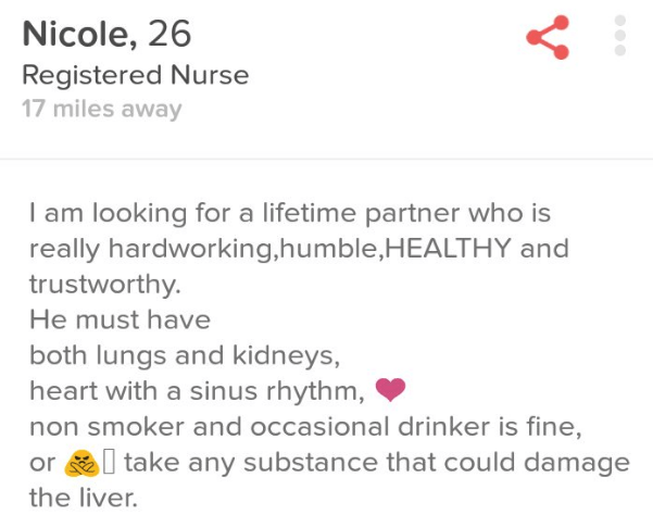 Short dating profile