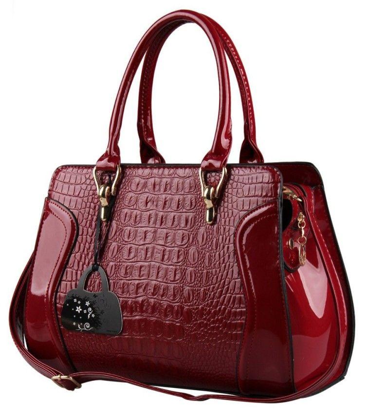 Hynes Eagle Patent Leather Crocodile Pattern Tote Bags Top Handle Handbags