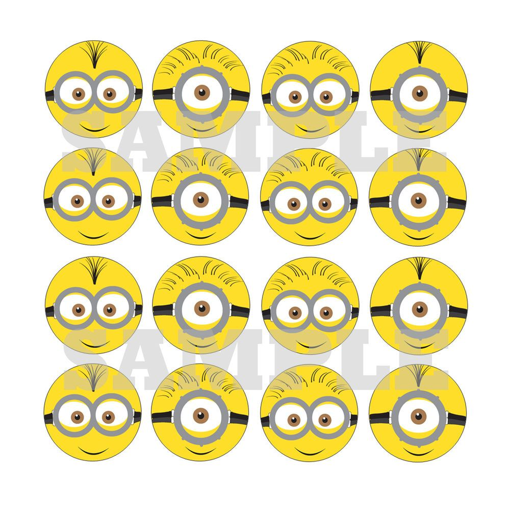 16x EDIBLE Minions Faces Cupcake Toppers birthday party wafer paper  despicable