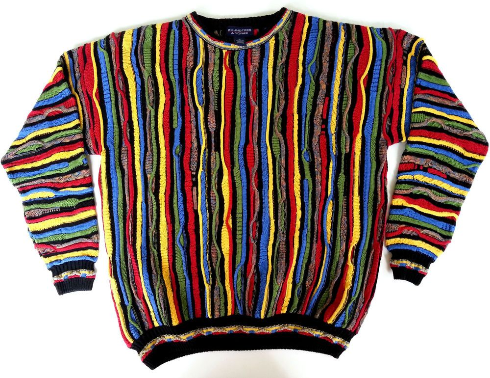 mens xl ugly christmas sweater roundtree yorke multi color 3d cosby biggie roundtreeyorke