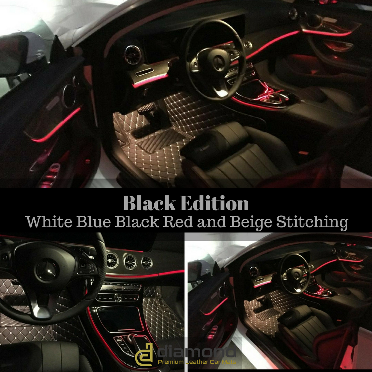 Jialuode Custom All Weather Car Floor Mats,Diamond Mats with Logo,Leather Liner Mats,Luxury Carpet Mats,Full Set Protection for Coupe Sport Sedan Convertible Van SUV Black