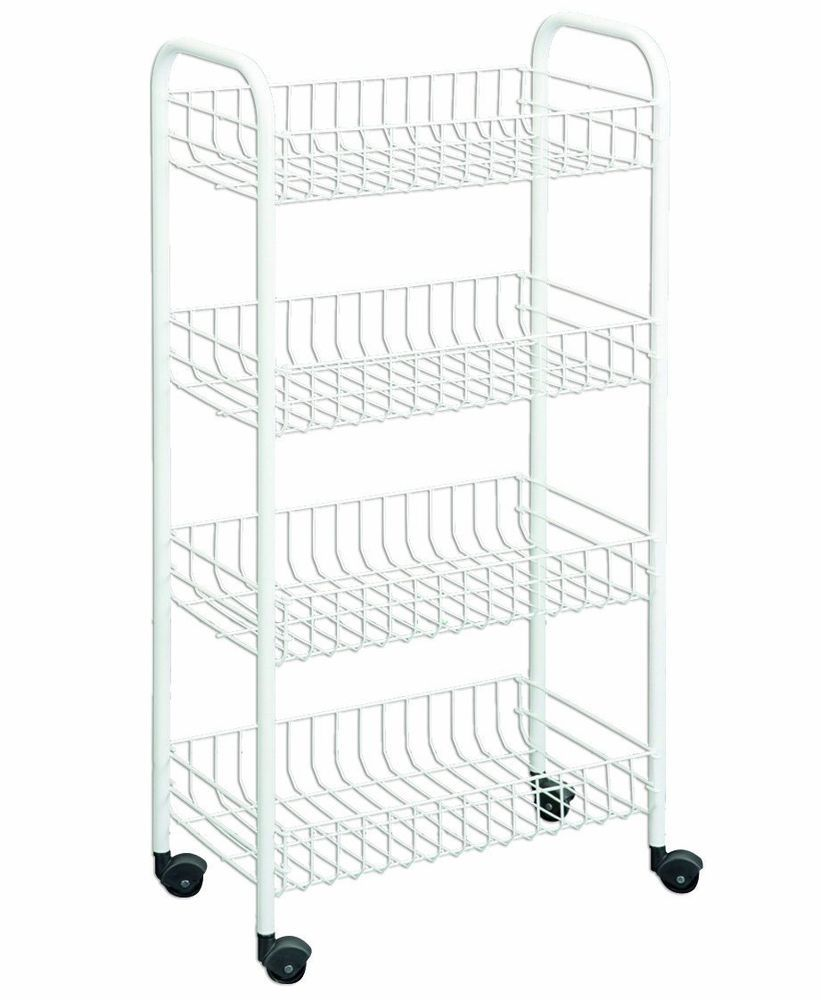 White Bathroom Laundry Storage 4-tier rolling laundry bathroom kitchen cart bins storage basket