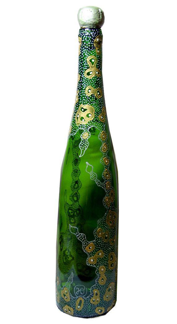 Painted wine bottle