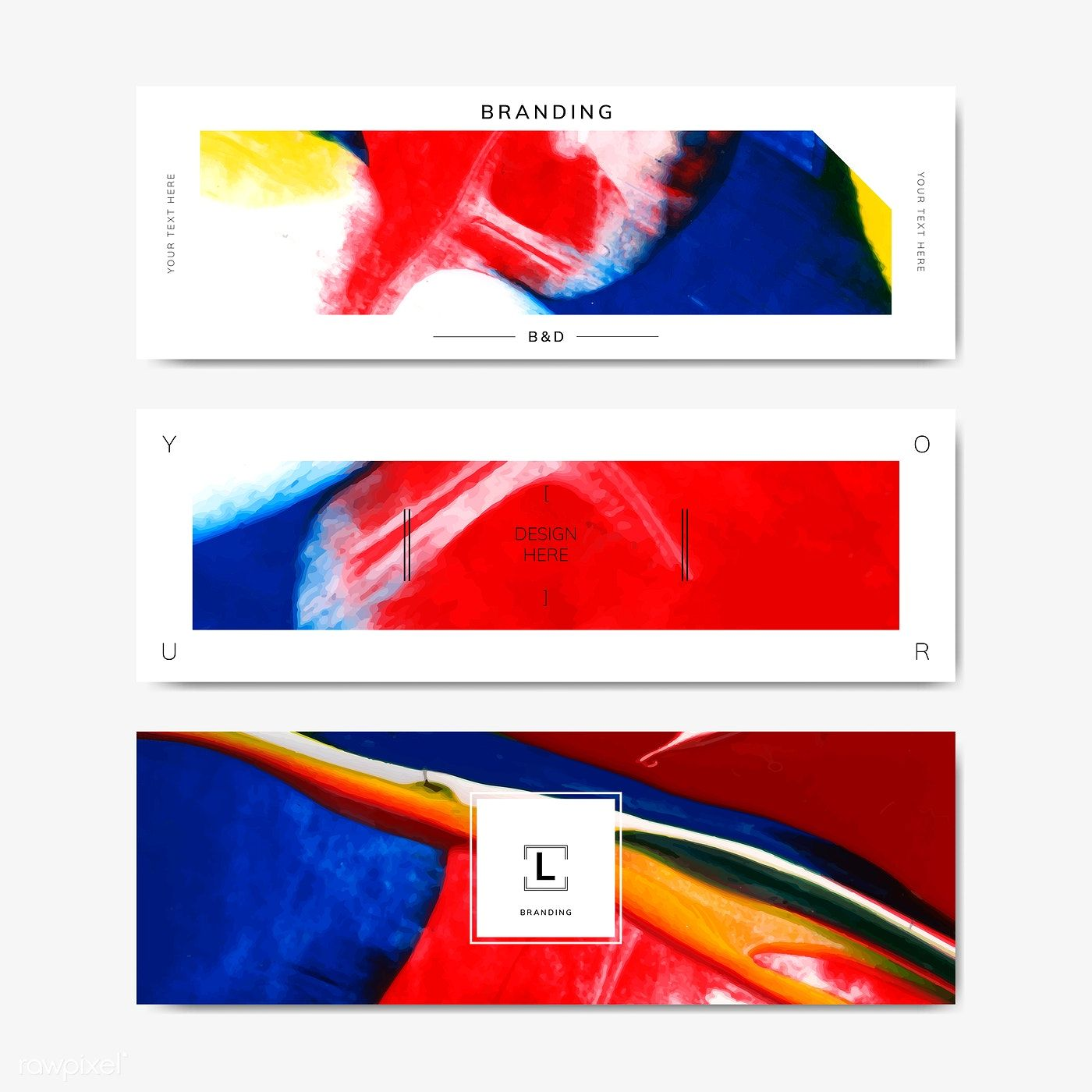 Colorful abstract art banner template vector free image