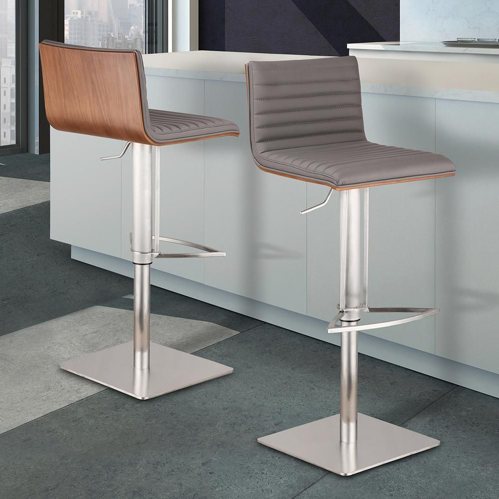 Armen Living Cafe 31 41 In Gray Faux Leather With Brushed Stainless Steel Finish And Walnut Veneer Back Adjustable Swivel Bar Stool Lccaswbagrb201 The Home D Adjustable Bar Stools Bar Stools Swivel
