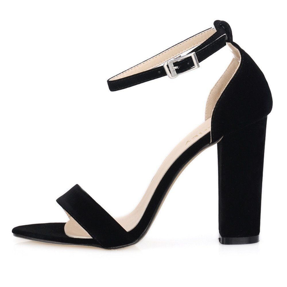 Women Pumps Open Toe Sexy Ankle Straps High Heels Shoes Summer Ladies Suede Thick Heel
